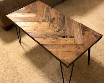 Herringbone Coffee Table With Hairpin Legs, Coffee Tables, Wooden Pallet Table, Sofa Table, Pallet Furniture, Rustic Table, Entry Table,