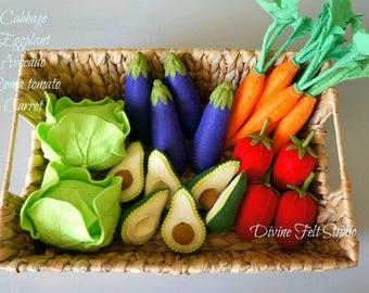 5 pc felt vegetable set-felt food pretend play