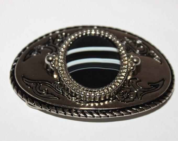 Vintage Western Belt Buckle, Semi-Precious black Sardonyx Cabochon Cut Stone