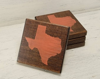 Pick State, Pick Color, Texas Wood Coasters, Set of 4, Wedding, Housewarming, Baylor