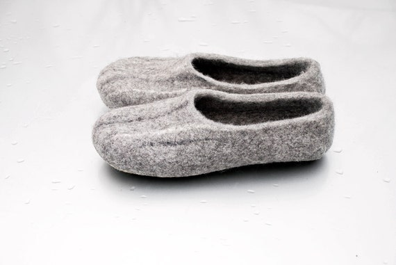 wool felted sheep woolen slippers handmade friendly organic gift eco Gotland shoes from clogs Iceland indoor Gray and Natural wool wCxF8x