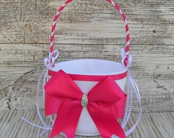 Wedding Flower Girl Basket, Ivory or White-Fuschia Ribbon/CHOOSE YOUR COLOR-Satin Ribbon Bow,Wedding Baskets,Wedding Decorations, Weddings