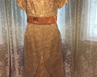 1 Vintage Tan with gold highlights Lace A Line Dress