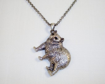 Antique Silver Bear Pendant Necklace
