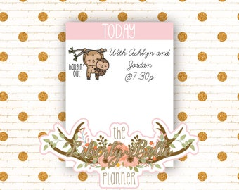 Cute Kawaii Sloth Hanging Out Functional Planner Stickers for Erin Condren, Plum Paper, Recollections, Happy Planner Planner (010)