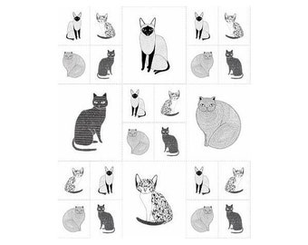 Catnip~Cats Galore Panel 23In X 44In On White Cotton Fabric By Gingiber For Moda