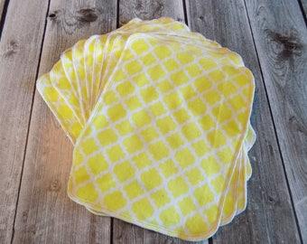Un-paper towels, Reusable flannel paper towels,  ecofriendly kitchen, Zero Waste life, Yellow