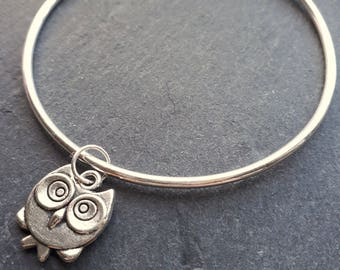 Cute Owl Charm on a 925 Sterling Silver Bangle