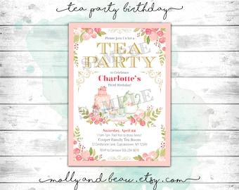 Tea Party Birthday Invitation Invite Printable Girls Dress Up House