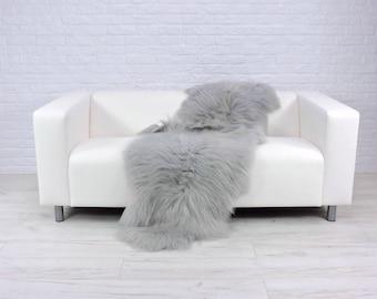Giant genuine Icelandic DOUBLE sheepskin rug dyed silver grey 195cm x 75cm D12