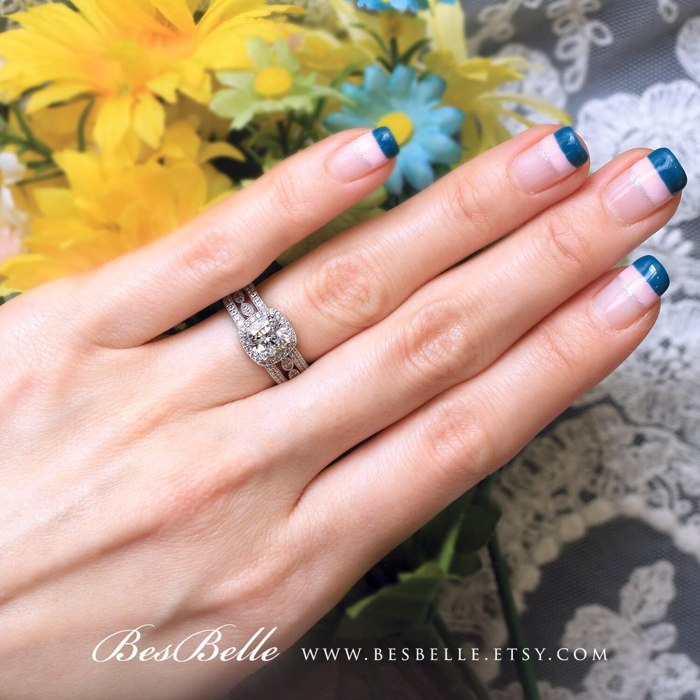 3.08 ct.tw Milgrain Art Deco Bridal Set Ring-Cushion Cut Halo