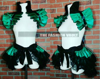 Steampunk Poison Ivy cosplay dance costume bustle skirt and shoulder collar shrug