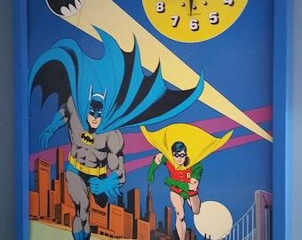 RARE Vintage 1978 Batman & Robin Poster Size Wall Clock - DC Comics New Haven and Super Time Inc Batman Collectible