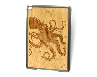 iPad Air case, iPad Mini case, iPad Mini 2 case, iPad 3 case, iPad engraved case, custom iPad case,Octopus wood engraved case