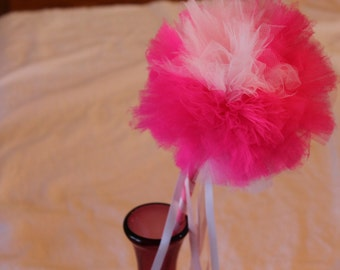Pink and White Magic Wand, Dress Up Wand, Princess Wand, Tulle Wand, Pom Pom Wand, Pink Costume Wand, Children's or Adults Wand, Weddings