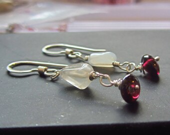 Red garnet and white moonstone long dangle earrings