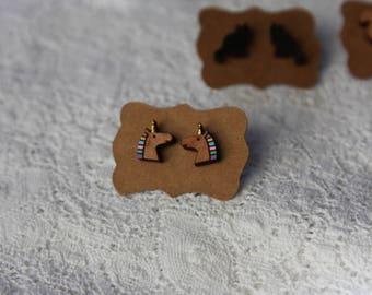 Unicorn earrings, hand painted wooden