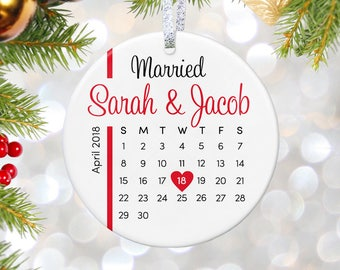 Our First Christmas Ornament Married Personalized Christmas Ornaments Mr and Mrs Gifts for Couple Newlywed Gift Just Married Mr Mrs