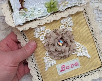 Love- Rosette Shabby Victorian Pocket Envelope Pouch Bag - Handmade by The Clever Cottage