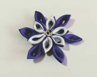 Elegant purple and white flower ribbon hairclip