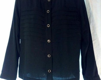 80s Tanner Blouse -  100% Polyester Black Blouse - Still New with Tag - Sz 10 ~80s Career / Dynasty~