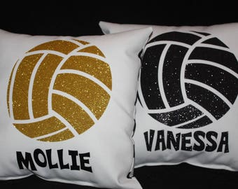 PERSONALIZED GLITTER VOLLEYBALL pillow Your choice of non flaking glitter color Makes great sports recognition gift Team Discounts Available