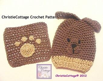 Puppy Dog Wash Mitt Wash Cloth Set  Crochet Pattern PDF