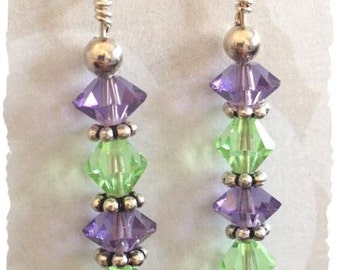 Pretty Purple and Green Sparkle Earrings--Genuine Swarovski Crystals and Sterling Silver Earrings