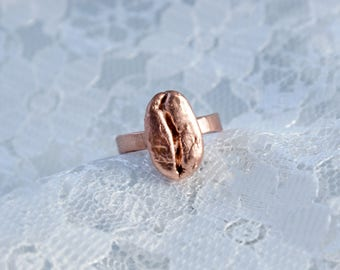 Real Coffee Bean | Electroformed Copper Ring US 6 1/2
