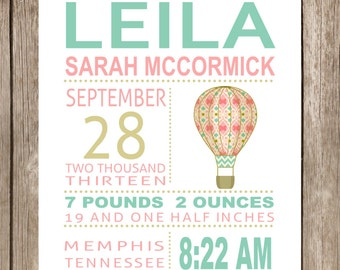 PRINTED Leila Hot Air Balloon Subway Art Print Printed and Shipped