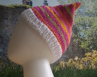 Child Cotton Sack Hat Beanie Hand Knitted (Ready To Ship)