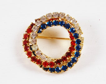 Vintage Red White and Blue Interlocking Circle Brooch