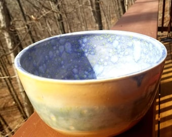 Handmade stoneware  bowl, handmade pottery, serving bowl, soup bowl, salad bowl, serving bowl. Holds 6+ cups