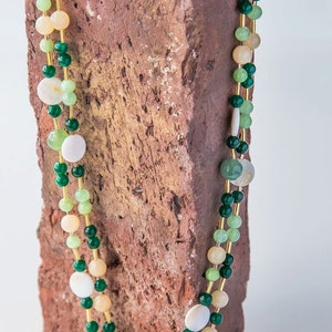 Mother-of-pearl and jade necklace