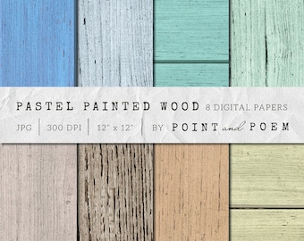 50% OFF SALE  Wood Digital Paper, Pastel Painted Texture - Commercial Use