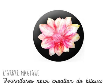 2 cabochons with stick Flower Pink water lily glass 18 mm - ref 734