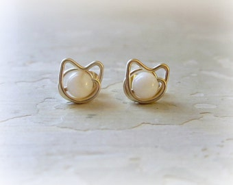 Small Cat Studs, Gold Post Earrings, Pet Lover Gift, Cat Stud Earrings, Mother of Pearl Studs, Cat Jewelry, White Cat Studs, White Cats
