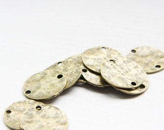 14pcs Antique Brass Base Metal Link - Near Round and hammered 19mm (25652Y-O-198B)