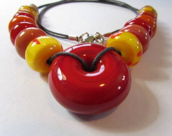 Red and Yellow Lampwork Glass Disc Bead Necklace, Red and Yellow Glass Bead Necklace, Large Red Disc Lampwork, Red Glass Disc Bead Necklace