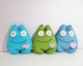 Felt Mini Monsters, Adopt A Monster, Monster Party, Felt Monsters, Monster Plushie, Monster Themed Party, Monster Party,  Felt Party Favor