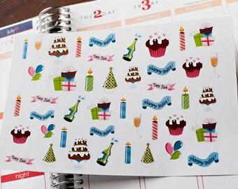 Birthday Stickers Fits Erin Condren Planner Plum Paper Cute Planner Stickers
