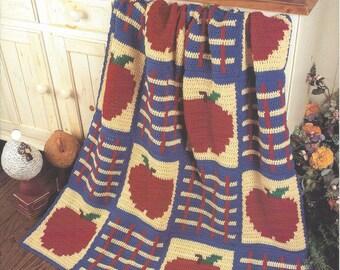 Apple Plaid Crochet Blanket Afghan Pattern, Home Decor, Apple Decor, Bedspread, Sofa Throw, Bedding, Apple Blanket, The Needlecraft Shop