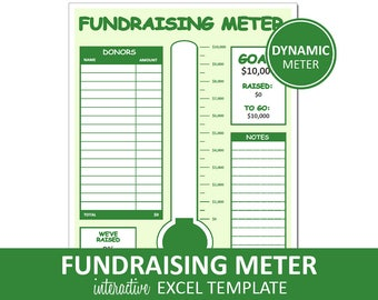 Fundraising Meter | Fundraiser Excel Template Printable | Donor Tracking List | Fundraising Goal Meter | Instant Digital Download