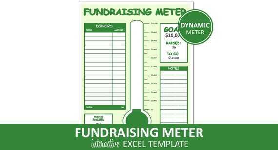 Fundraising Meter Fundraiser Excel Template Printable