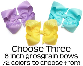 "6 inch Grosgrain Bows, King Sized Boutique Bows, Texas Hair Bow, 6"" Giant Hair Bow for Women, Great Big Bow, Extra Large Hair Bow for Girls"