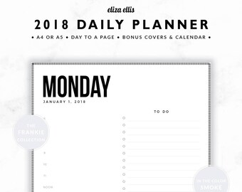 2018 DAILY PLANNER / A4 Daily Planner / A5 Daily Planner / DTP Planner / To Do List / Planner Inserts / The Frankie Planners in Smoke / 405