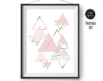Scandinavian Print, Blush Marble Rose Gold Print, Geometric Art, Pink Printable, Nursery Print, Abstract Art, Triangles Poster, Print Avenue