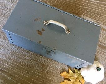 Vintage Gray Metal Box - Tool Box