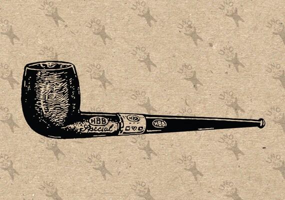 Tabaco pipa Vintage retro dibujo hierro gráfico de imagen