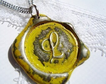 YELLOW  letter of your choice monogrammed initial wax seal pendant a b c d e f g h i j k l m n o p q r s t u v w x y z